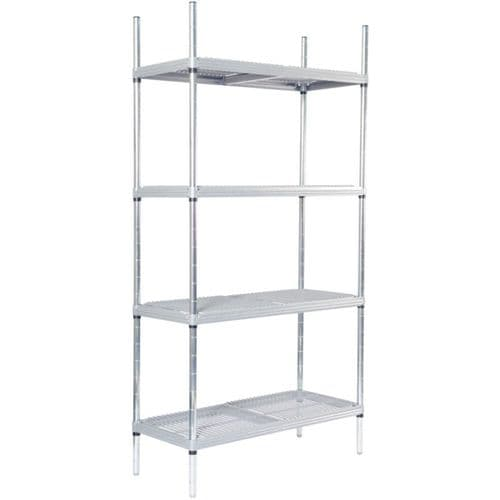 Craven 4 Tier Nylon Coated Wire Shelving With Pads 1700x 875x 391mm - CE128