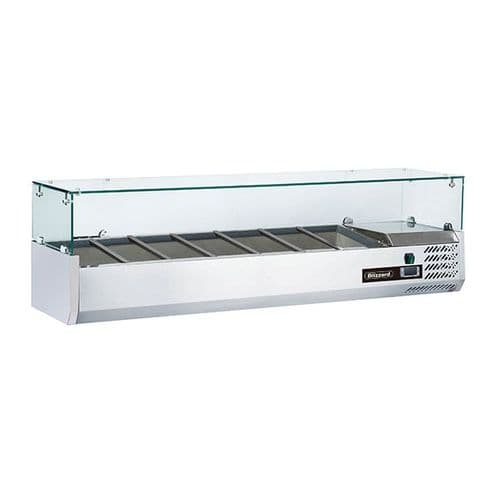 Blizzard 1/4 Gastronorm Prep Top With Glass Cover 1500mm - TOP1500-14CR