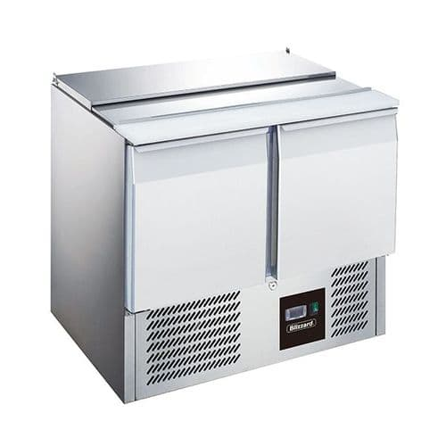 Blizzard 2 Dr Compact Gn Saladette With Cutting Board 240L - BSP2