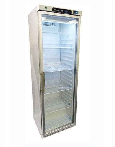Blizzard Upright White Refrigerator with Glass Door - HG400WH