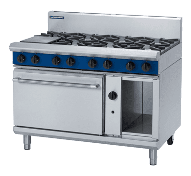 Blue Seal Evolution Series G58D - 1200mm 8 Burner Gas Range Convection Oven
