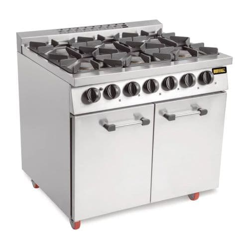 Buffalo 6 Burner Oven Range with Castors - CT253