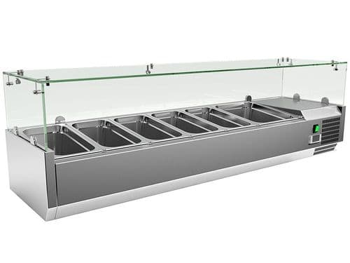 Empire Refrigerated Counter Top Servery Prep Unit 5 x 1/3 & 1 x 1/2 GN - VRX1500/380 FG