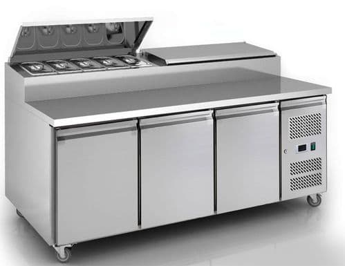 Empire Stainless Steel 3 Door Pizza Prep Table Refrigerator - SH3000-700