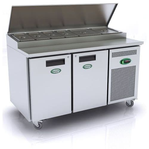 Genfrost - GPR2700 - 265Ltr 2 Door Prep Counter With Raised Topping Well