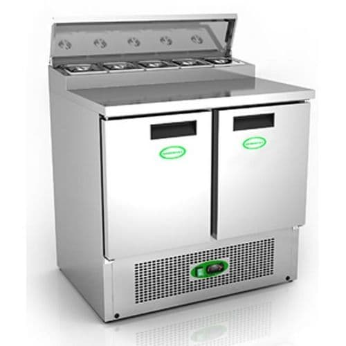 Genfrost - GPZ200 - 250Ltr 2 Door Prep Counter With Raised Topping Well