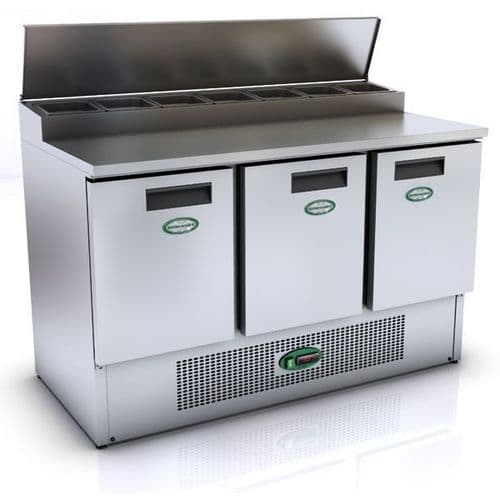 Genfrost - GPZ300 - 397Ltr 3 Door Prep Counter With Raised Topping Well