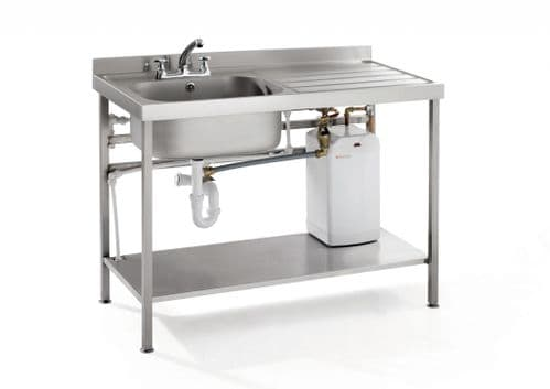 Parry Quick Fit Sink 1200 x 600 Right Hand Drainer With Integral 10Ltr Water Boiler - QFSINK1260R10L