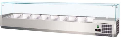Prodis T18G 1800mm 8 x 1/3GN topping unit with glass top