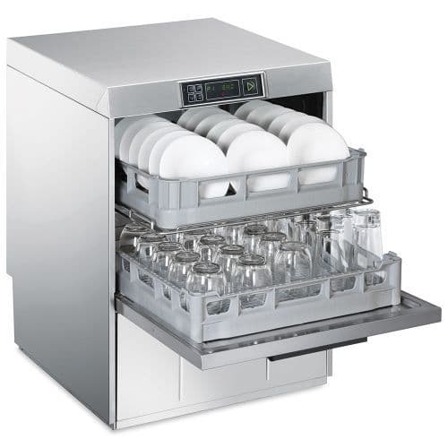 Smeg Commercial Twin Basket Undercounter Dishwasher with Integrated Water Softener - UD512DSUK