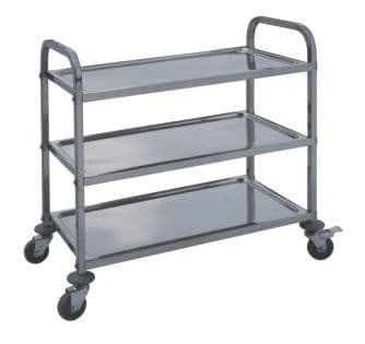 Stainless Steel Large 3 Tier Dining Trolley