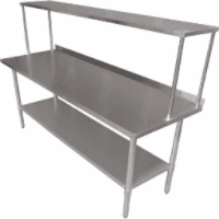 Stainless Steel Tables with Overshelf