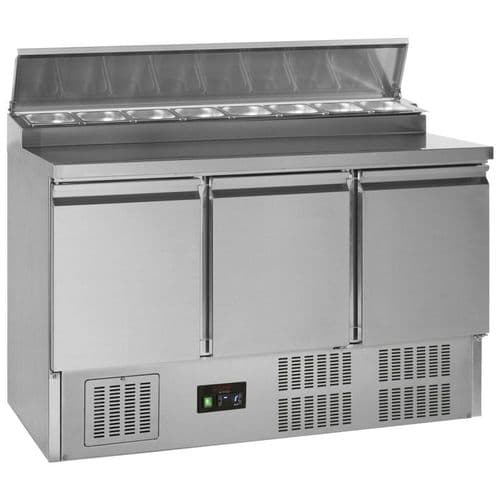 Tefcold G-Line Stainless Steel Three Door GN 1/1 Pizza Prep Saladette Counter - GSS435