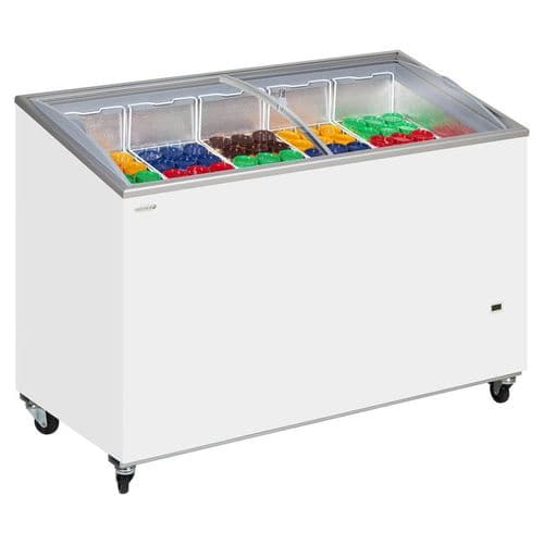 Tefcold Sliding Curved Glass Lid Chest Freezer - IC400SCEB