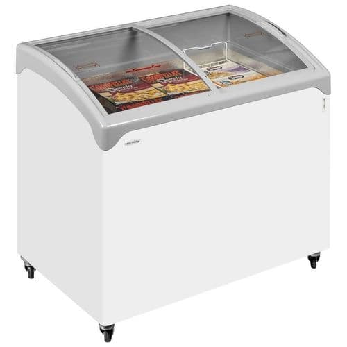 Tefcold Sliding Curved Glass Lid Chest Freezer - NIC300SCEB