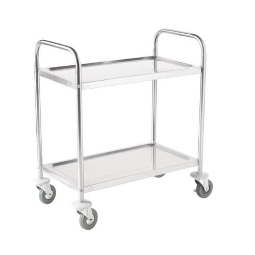 Vogue Stainless Steel 2 Tier Clearing Trolley Medium - F997