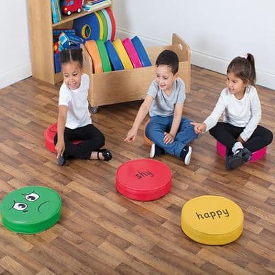 12 Emotion Cushions set with trolley,Emotion Cushions set with trolley,emotions cushions and storage trolley,school cushions,story time cushions,sensory pillows
