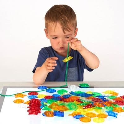 144 piece Stackable Translucent Buttons,Giant translucent lacing  buttons shapes,children's counting resources,light box resources,Sensory light box resources toys