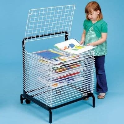 20 Shelf Spring Loaded Dryer floor drying rack with wheels,Spring Loaded 20 Shelf Drying Rack,School art equipment,messy play toys,messy play ideas,20 Shelf Spring Loaded Art Drying Rack