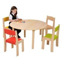 4 Pack Solid Beech Stackable Chairs Mixed Colours