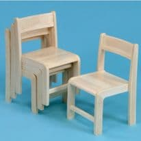 4 Pack  Stackable Classroom Chairs Beech H310mm