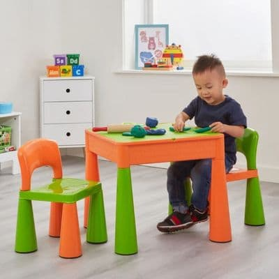 5-in-1 Multi-Purpose Table and Chair Set Green and Orange,Children's Multi Purpose Table & Chair Set Green and Orange,Early Years Multi Activity Tables and Chairs Set Green and Orange,Early years classroom resources,early years nursery resources