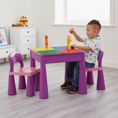 5-in-1 Multi-Purpose Table and Chair Set Purple,Children's Multi Purpose Table & Chair Set Purple,Early Years Multi Activity Tables and Chairs Set Purple.ACTIVITY TABLE