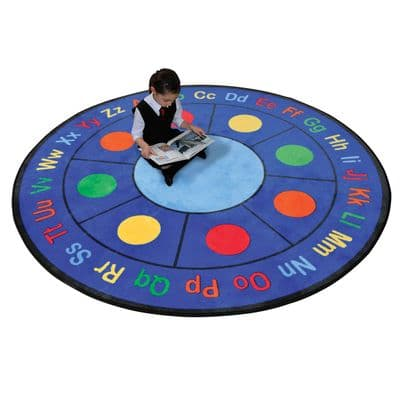 ABC Dots Round Rug,school furnishings,school furniture,outdoor school seating,outdoor group work cushions,cushions for children,classroom cushions for children