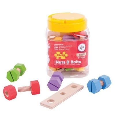 Bigjigs Jar of Nuts and Bolts,20 Piece Jar of Nuts and Bolts,Nuts and bolts toys,sensory toys,fine motor skills toys,fine motor skills toys resources,classroom resources fine motor skills
