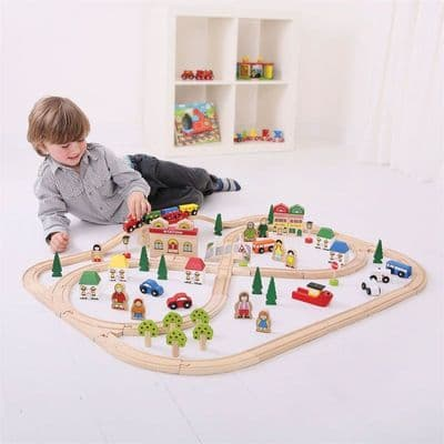 Bigjigs Rail Town and Country Train Set,Town and Country Train Set, Bigjigs train set,big jigs toys discount,bigjigs toys style train set