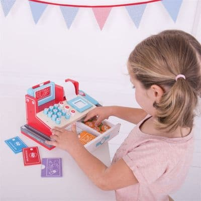 Bigjigs Shop Till with Scanner,Shop Till with Scanner,pretend play kitchen toys,kitchen toys,pretend play household,children's imaginative play ideas