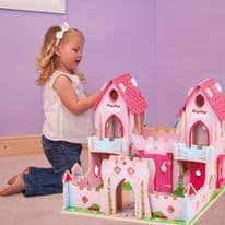 Bigjigs Toys Wooden Fairy Tale Palace -Pink Castle Playset