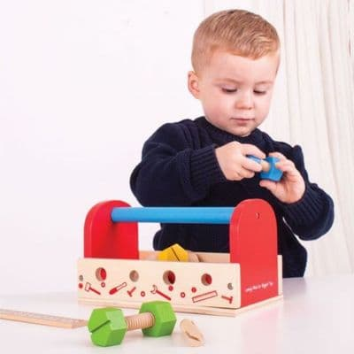 Bigjigs Toys Wooden My Tool Box,Take-Along Tool Kit Wooden Toy,Melissa and doug take a long tool set,childrens pretend play tool set,childrens tool set bench