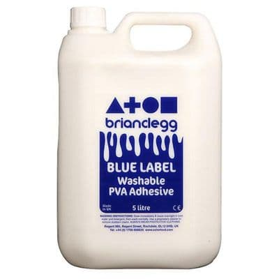 Blue Label Washable PVA Adhesive Single 5L glue Bottle,pva glue,school pva glue,cheap pva glue bulk,1 litre PVA glue.PVA Glue for schools