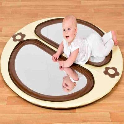 Brown and Cream Mirror Mat,,sensory baby play mats, waterproof play areas, for children with autism, sensory toys, resources for schools and other organisations, sensory products for those on the autistic spectrum, lifetime education