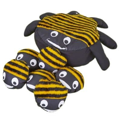Bee Cushion and 15 Baby Bee Cushions,Bumble bee cushion,mini beasts early years resources,early years classroom furniture,sensory cushion