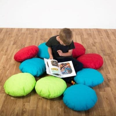 Child Scatter Cushions Set of 10 Padded,Primary Scatter Cushions Pack of 10,School Bean Bags,School scatter cushions,school bean bag furniture,school library seating,early years resources,early years resources discount code,school bean bags