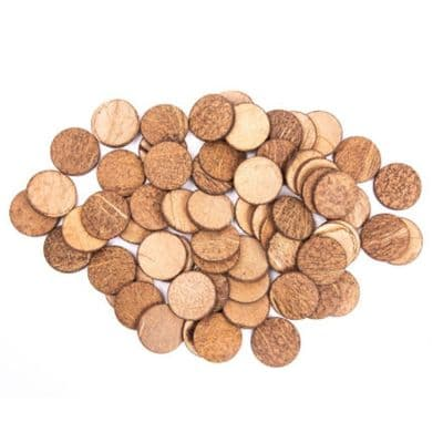 Coconut Shell Discs - 250g,coconut shells,Nature based play resources,Loose part play.heuristic play.natural play resources