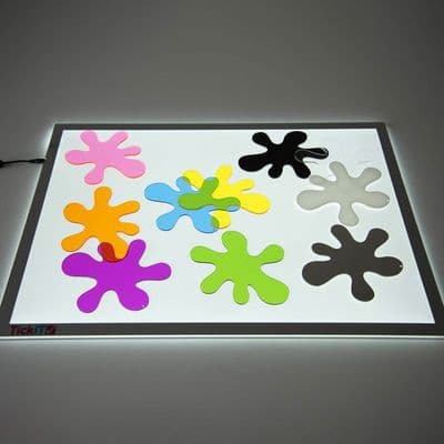 Colour Splats,Colour Splats Pack of 10,coloured splats,sensory light table,sensory light panel,light panel for children,colourful transparent and opaque acrylic letters numbers and shapes,coloured numbers letters shapes,coloured acrylic shapes alphabet numbers,Acrylic numbers letters shapes for light box panel,coloured alphabet numbers and shapes for light box panel