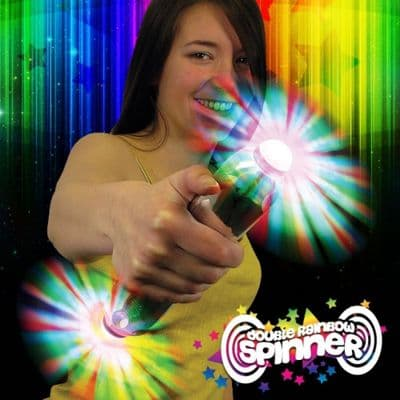 Double Rainbow Spinner,flashing novelty wands,flashing novelties,flashing spinning wand,flashing led spinner wand