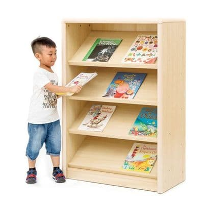 Elegant Sloping Book Display Unit,PlayScapes Mobile Tall Book Display,classroom storage,Classroom book storage
