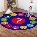 Emotions Faces Interactive Circular Carpet
