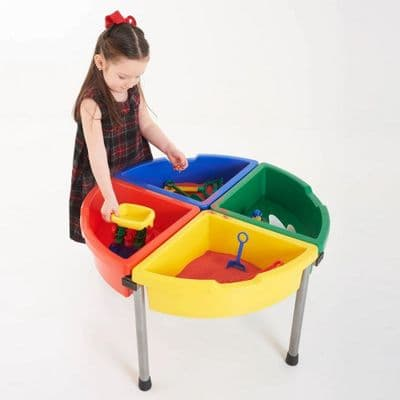 Exploration Circle water tray Set  Colour Trays,messy play, water play, sand, medium, media, tactile, trays, materials, school, activity, play,Clear Sand and Water Play Tray with Blue Stand,childrens water tray table,childrens sand and watertray table,school water table,sensory play table