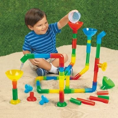 Fun Tunnels and Pipes Set of 50,Waterways Pipe Builder Set 50,children's water toys,water play,children's water play toys and games,children's water games,sensory water toys