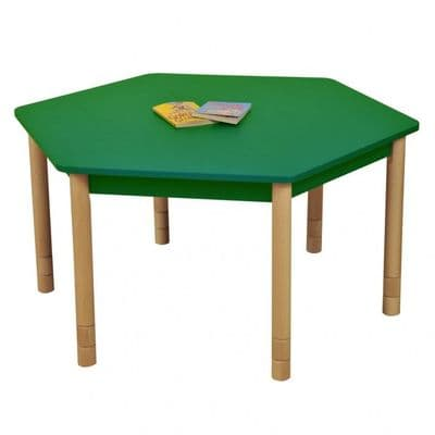 Height Adjustable Beechwood Hexagon Table Green,classroom tables primary schools,primary school classroom tables for children