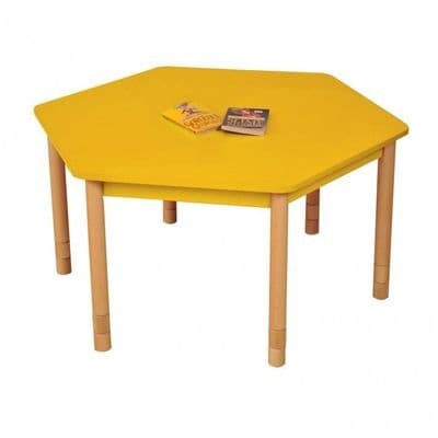 Height Adjustable Beechwood Hexagon Table Yellow,classroom tables primary schools,primary school classroom tables for children