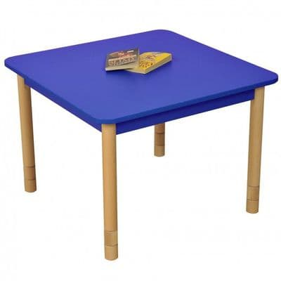 Height Adjustable Beechwood Square Table Blue,classroom tables primary schools,primary school classroom tables for children