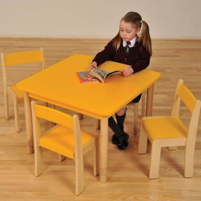 Height Adjustable Beechwood Square Table  Yellow,classroom tables primary schools,primary school classroom tables for children