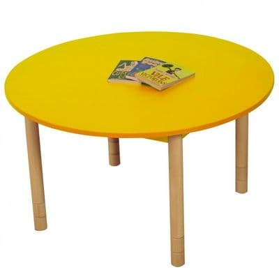 Height Adjustable Round Table Yellow,classroom tables primary schools,primary school classroom tables for children