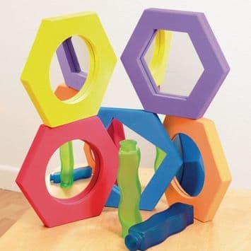 Hexagonal Softie Mirror Set,special needs mirrors,sensory mirrors,mirrors for special needs,sensory mirrors,TICK IT Hexagonal Softie Mirror Set,Commotion Hexagonal Softie Mirror Set,Hexagonal soft foam mirrors,acrylic safety mirrors with soft eva foam surrounds,foam acrylic mirrors,Sensory foam acrylic mirrors,safety mirrors for babies and children with special needs